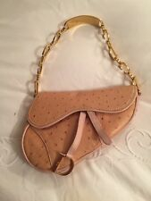 Christian Dior Galliano RARE pink ostrich leather mini saddle bag 3be52a8e95478