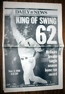 New York Daily News, Sept 9,1998 - McGwire Breaks Maris HR Record Complete Paper