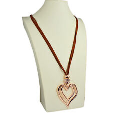 Lagenlook large rose gold double heart pendant CZ brown suede long necklace