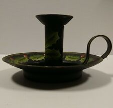 Vintage Bombay Company Hand-painted Holly Berry Candle Holder Cast Iron