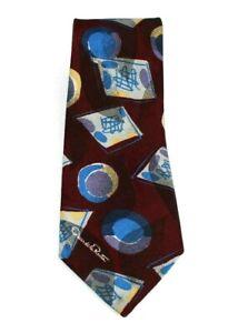 Oscar De La Renta Made in USA NeckTie Maroon Blue Abstract Necktie  A103