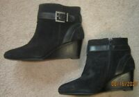 Antonio Melani  Short Black Suede Wedge Ankle Boots Size 7.5  New!  Never worn