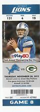 2013 DETROIT LIONS VS GREEN BAY PACKERS TICKET STUB THANKSGIVING 11/28 STAFFORD