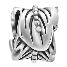 Lovelinks Bead Sterling Silver, Leaf Spacer Oxidisded Silver Charm Jewelry TT535