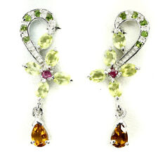 REAL GEM Citrine ,Chrome Diopside ,Peridot ,Ruby 14K ON 925 Silver DROP Earrings