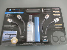Bello Kit High-speed Hdmi 2-6ft Cables 1-4oz Hd Screen Cleaner & 1-12x12 Cloth