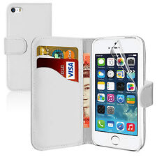 WHITE Plain Wallets Case Cover with Card Slots and clip for Apple iPhone 5/5S