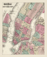 "Vintage Street Map of New York  City CANVAS PRINT poster 24""X18"""