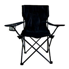Folding Camping Chair - Portable Beach Picnic Fishing Seat Sturdy Steel Black