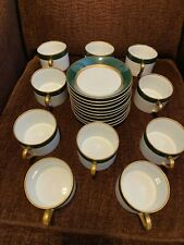 Fitz & Floyd Renaissance • Ff26 • 10 Green Gold Cups and Saucers