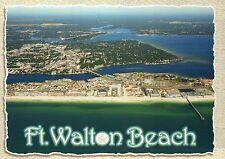 Aerial View of Ft. Walton Beach Florida, Hotels Beach Pier Bridge FL -- Postcard