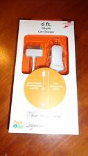 Tech & Go 6 FT Car Charger iPhone 3, 4, iPad iPod Touch & Nano 30 Pin White