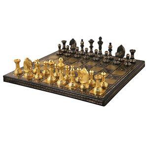 "Staunton Inspired Brass Metal Luxury Chess Pieces & Board Set -12""- Gold & Black"