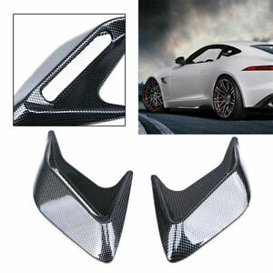 2Pcs Car Decorative Side Vent Air Flow Fender Intake Stickers Carbon Fiber Style