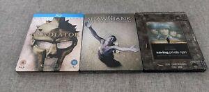 Set Of 3 Bluray Steelbooks Shawshank Redemption Gladiator Saving Private Ryan