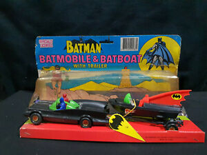 Vintage new batmobile and batboat trailer with batman and robin