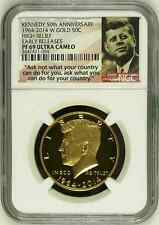 2014 W GOLD KENNEDY 50TH ANNIVERSARY HIGH RELIEF NGC PF69 UC EARLY RELEASES HALF