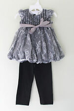 NWT Isobella & Chloe White Lace Holiday Bubble Hem Leggings Toddler Girls Set 2T