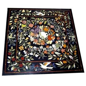 30 Inches Marble Center Table Top Square Black Coffee Table with Marquetry Art