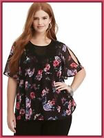 NWT TORRID (L (0) 12) Womens top Multi-Color Floral Print Crinkled Chiffon Lace