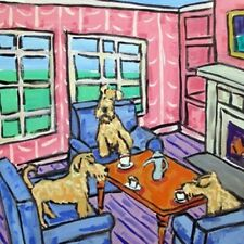 Irish Terrier tea party dog art tile coaster gift