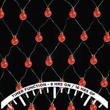 180 LED NET BERRY LIGHTS XMAS TREE MULTI EFFECT FESTIVE CHRISTMAS CURTAIN - RED