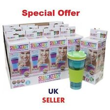 WHOLESALE 50X16 0z Easy Snackeez! 2-in-1 Snack N Drink 4 Colors Travel £2 NO BOX