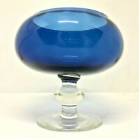 Vintage BLUE EMPOLI OPTIC FOOTED GLASS BOWL / BRANDY GLASS