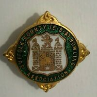 Vintage Suffolk County Bowling Association  Enamel Badge H.W Miller
