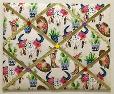 Desert Cowgirl French Memo Board Floral Cow Skulls Cacti Memory Board Boots Hats