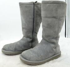 UGG Australia 1890 Kenly Side Zip Suede Sheepskin Winter Grey Boots Womens Sz 8