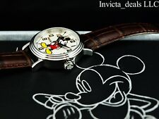 Invicta Womens Disney® 32mm Limited Edition White Dial Brown Leather Strap Watch