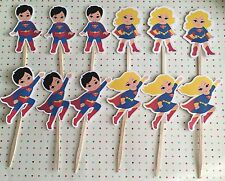 Superhero Superman Supergirl Party Favors Set Of 12 Cupcake Toppers
