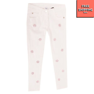 RRP €110 PARROT Jeans Size 14Y Stretch Rhinestoned Front Made in Italy