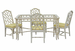 1970's Faux Bamboo Dining Set, 5 Pieces