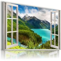 3D MOUNTAINS RIVER  Window View Canvas Wall Art Picture Large SIZES W70
