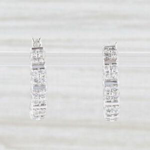 0.78ctw Diamond Hoop Earrings 14k White Gold Snap Top Pierced Round Hoops