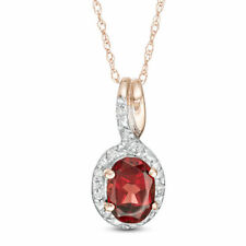 7.00mm Oval Garnet Birthstone Diamond Frame Bypass Pendant 10K SOLID Rose Gold