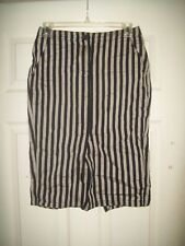 Diesel Skirt 24 NWT New Black Gray Striped Linen Cotton Blend Pencil Fall