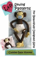 Baby Monkey soft toy sewing pattern with own clothing collection