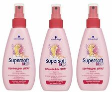 3 X Schwarzkopf Kids Supersoft GIRLS Detangling Leave-In Spray 150ml