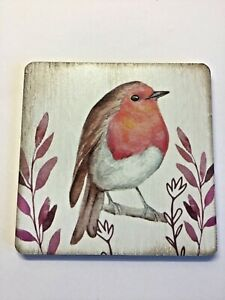 New Square wooden retro coaster robin wildlife bird gift cute free p&p