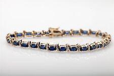 Estate $5000 10ct Natural Blue Sapphire Diamond 14k Yellow Gold Tennis Bracelet
