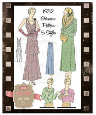1930s Dress, Coat, Skirt and Blouse Vintage German Sewing Pattern