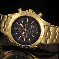 Herrenuhr Gold Datum Edelstahl-militärischen Armee Quarz Sport Armbanduhr Uhr