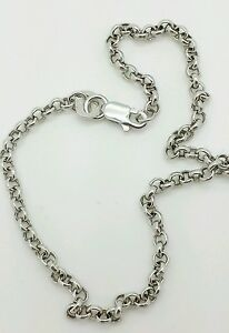 """10k White Gold Rolo Anklet Chain 10"""" 2.3mm"""