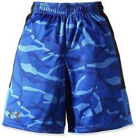 Youth Boy's UNDER ARMOUR Blue Black Camo Loose Fitting Shorts Heatgear
