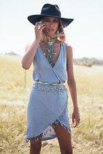 NWOT Sabo Skirt Gray Tassel Hem Faux Wrap Dress XS - model Ruby Matthews