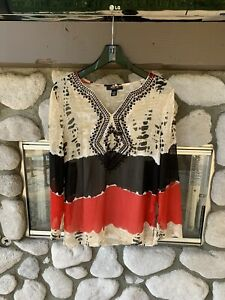 Style & Co Red, Black, Beige Embroidered Tunic Top W/ Camisole Small 2 Tops