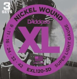 D'Addario EXL120 Electric Guitar Strings Super Light 9-42, 3 Sets  - New